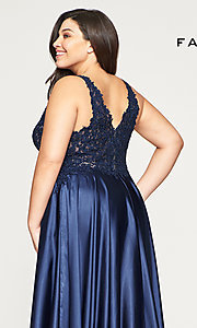 Image of long v-neck plus-size prom dress with lace. Style: FA-9494 Detail Image 6