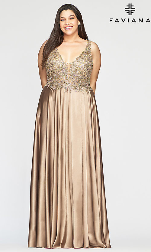 Image of long v-neck plus-size prom dress with lace. Style: FA-9494 Front Image