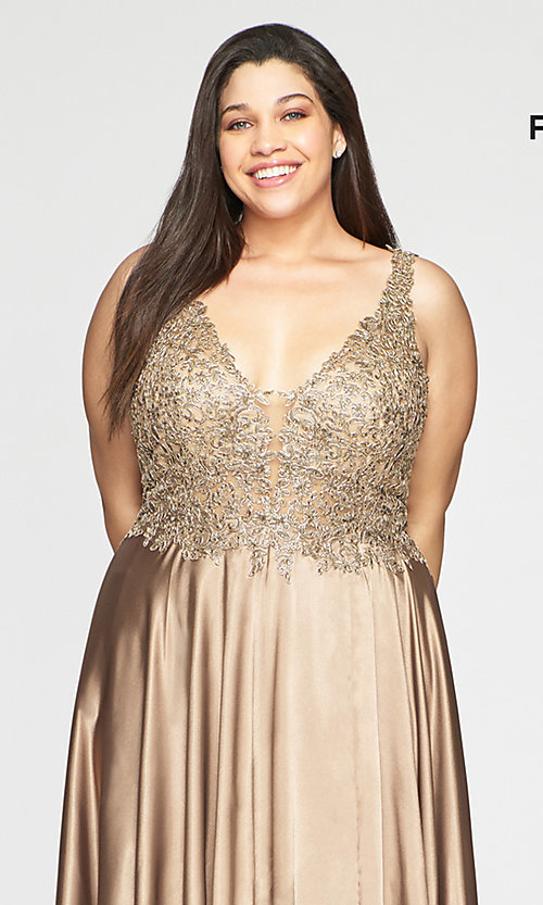 Image of long v-neck plus-size prom dress with lace. Style: FA-9494 Detail Image 1