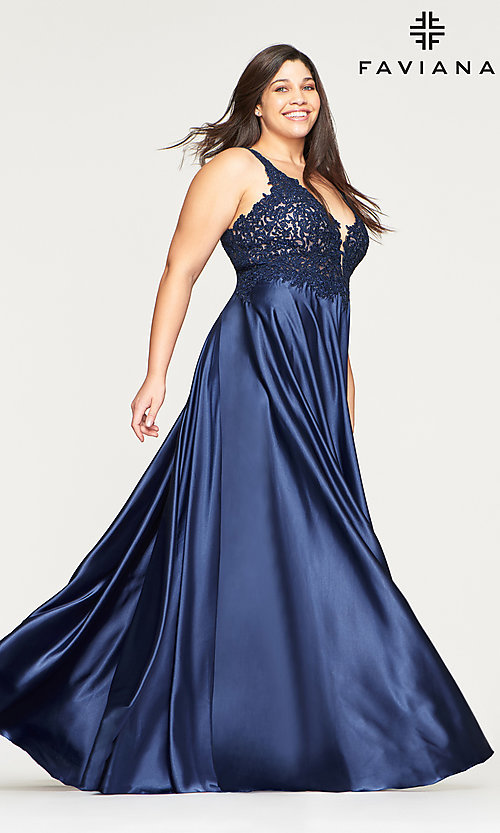 Image of long v-neck plus-size prom dress with lace. Style: FA-9494 Detail Image 3