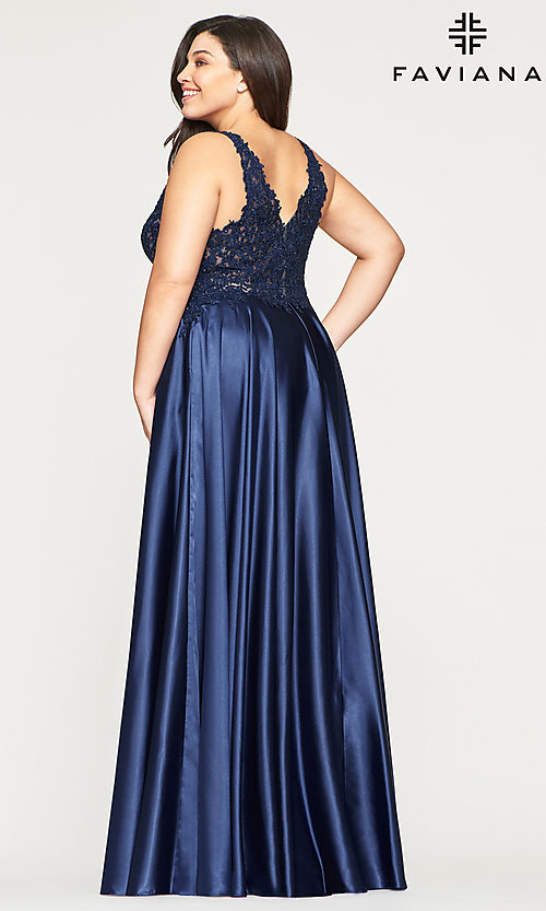 Image of long v-neck plus-size prom dress with lace. Style: FA-9494 Detail Image 4