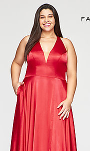 Image of long Faviana plus-size classic red prom dress. Style: FA-9495 Detail Image 1