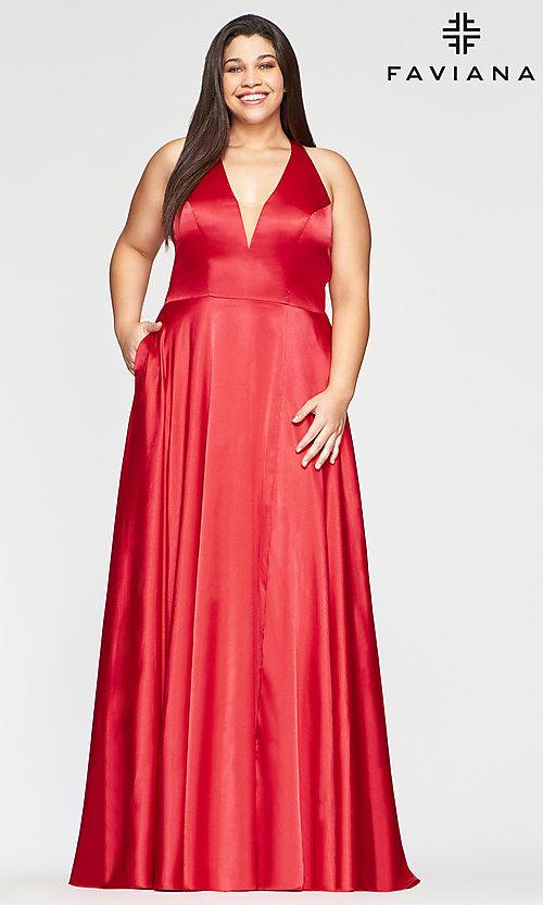 Image of long Faviana plus-size classic red prom dress. Style: FA-9495 Front Image