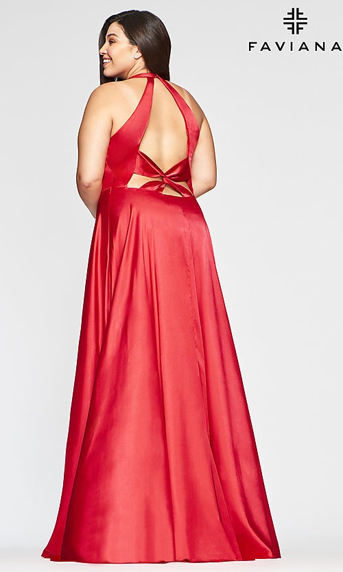 Image of long Faviana plus-size classic red prom dress. Style: FA-9495 Back Image