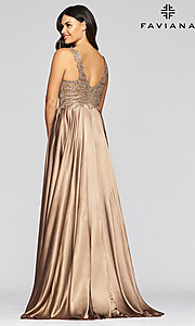 Image of v-neck prom dress with metallic embroidered bodice. Style: FA-10407 Detail Image 2