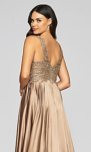 Image of v-neck prom dress with metallic embroidered bodice. Style: FA-10407 Detail Image 4