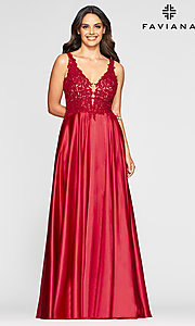 Image of v-neck prom dress with metallic embroidered bodice. Style: FA-10407 Detail Image 5