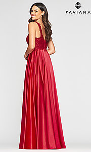 Image of v-neck prom dress with metallic embroidered bodice. Style: FA-10407 Detail Image 6