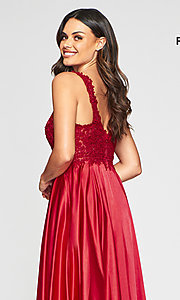 Image of v-neck prom dress with metallic embroidered bodice. Style: FA-10407 Detail Image 8