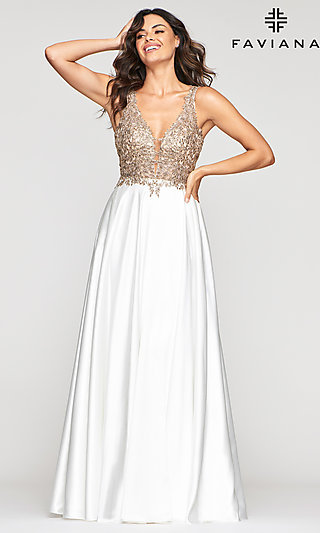 V-Neck Prom Dress with Metallic Embroidered Bodice
