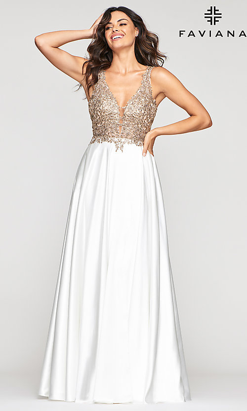 Image of v-neck prom dress with metallic embroidered bodice. Style: FA-10407 Front Image