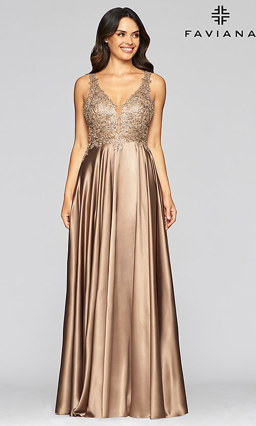 Image of v-neck prom dress with metallic embroidered bodice. Style: FA-10407 Detail Image 1