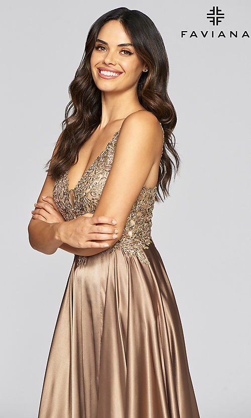 Image of v-neck prom dress with metallic embroidered bodice. Style: FA-10407 Detail Image 3