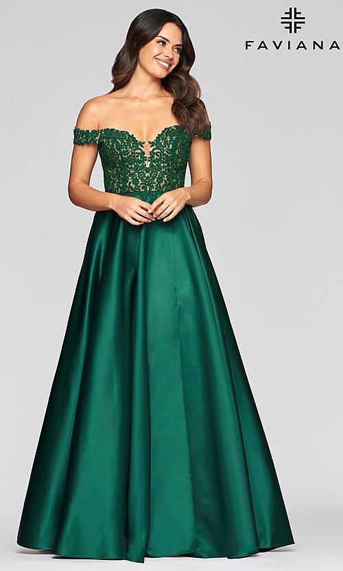 Image of long off-the-shoulder satin prom dress by Faviana. Style: FA-10422 Front Image