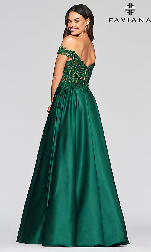 Image of long off-the-shoulder satin prom dress by Faviana. Style: FA-10422 Back Image