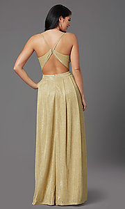 Image of long gold sparkly formal prom dress by PromGirl. Style: MCR-PL-2816 Back Image