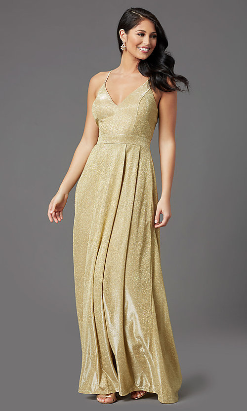 Image of long gold sparkly formal prom dress by PromGirl. Style: MCR-PL-2816 Detail Image 1