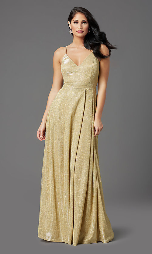 Image of long gold sparkly formal prom dress by PromGirl. Style: MCR-PL-2816 Front Image