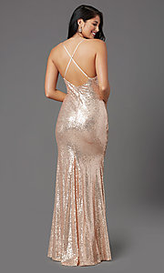 Image of rose gold long sequin prom dress by PromGirl. Style: MCR-PL-2848 Back Image