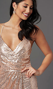 Image of rose gold long sequin prom dress by PromGirl. Style: MCR-PL-2848 Detail Image 1