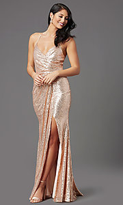 Image of rose gold long sequin prom dress by PromGirl. Style: MCR-PL-2848 Detail Image 2