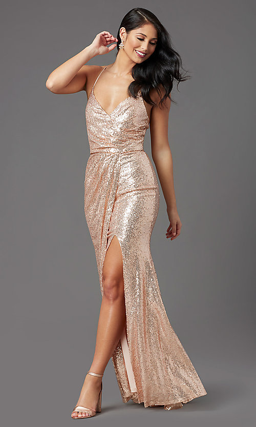 Image of rose gold long sequin prom dress by PromGirl. Style: MCR-PL-2848 Front Image