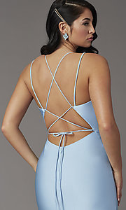 Image of open-back sky blue prom dress from JVNX by Jovani. Style: JO-JVNX00902 Detail Image 1