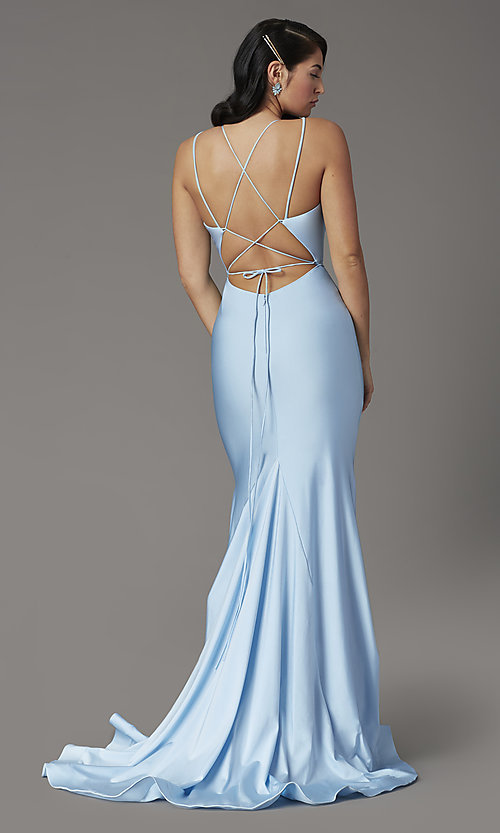 Image of open-back sky blue prom dress from JVNX by Jovani. Style: JO-JVNX00902 Back Image