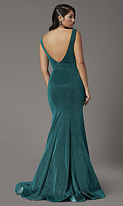 Image of metallic emerald green glitter v-neck prom dress. Style: JO-JVNX03025 Back Image