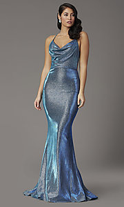 Image of JVNX by Jovani metallic glitter royal blue prom dress. Style: JO-JVNX03026 Front Image