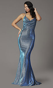 Image of JVNX by Jovani metallic glitter royal blue prom dress. Style: JO-JVNX03026 Detail Image 2