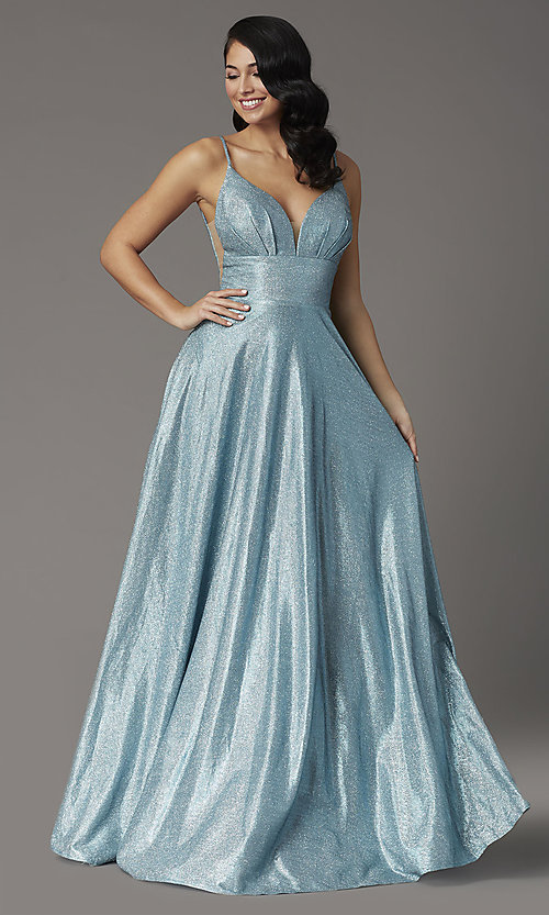 Image of metallic long a-line JVNX by Jovani blue prom dress. Style: JO-JVNX03039 Front Image