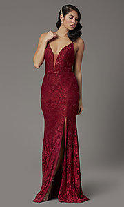 Image of burgundy red lace prom dress from JVNX by Jovani. Style: JO-JVNX03041 Front Image