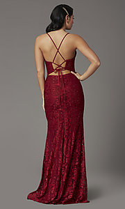 Image of burgundy red lace prom dress from JVNX by Jovani. Style: JO-JVNX03041 Back Image