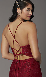 Image of burgundy red lace prom dress from JVNX by Jovani. Style: JO-JVNX03041 Detail Image 1