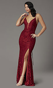 Image of burgundy red lace prom dress from JVNX by Jovani. Style: JO-JVNX03041 Detail Image 2