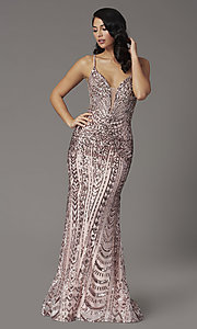 Image of open-back long sequin prom dress from JVNX by Jovani. Style: JO-JVNX03049 Front Image