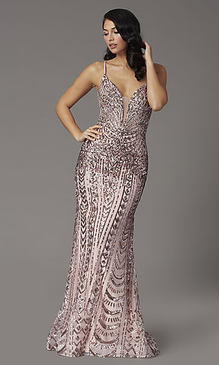 Open-Back Long Sequin Prom Dress from JVNX by Jovani