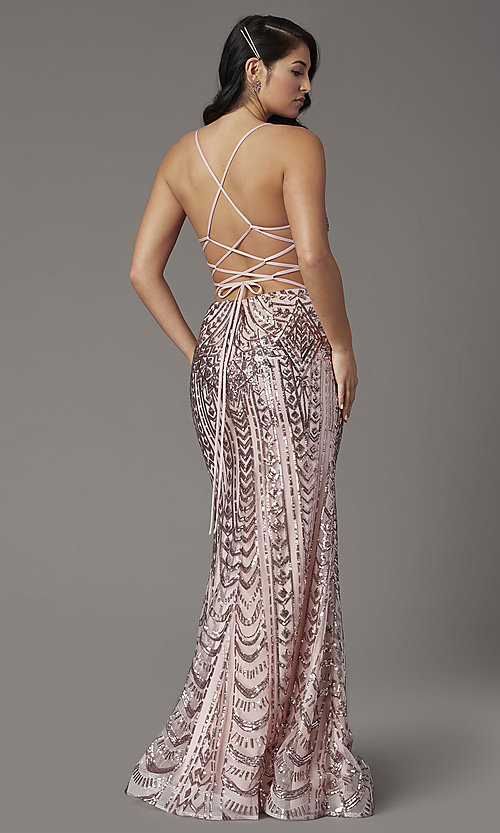 Image of open-back long sequin prom dress from JVNX by Jovani. Style: JO-JVNX03049 Back Image