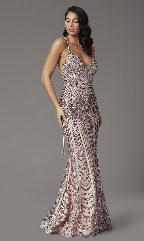 Image of open-back long sequin prom dress from JVNX by Jovani. Style: JO-JVNX03049 Detail Image 1