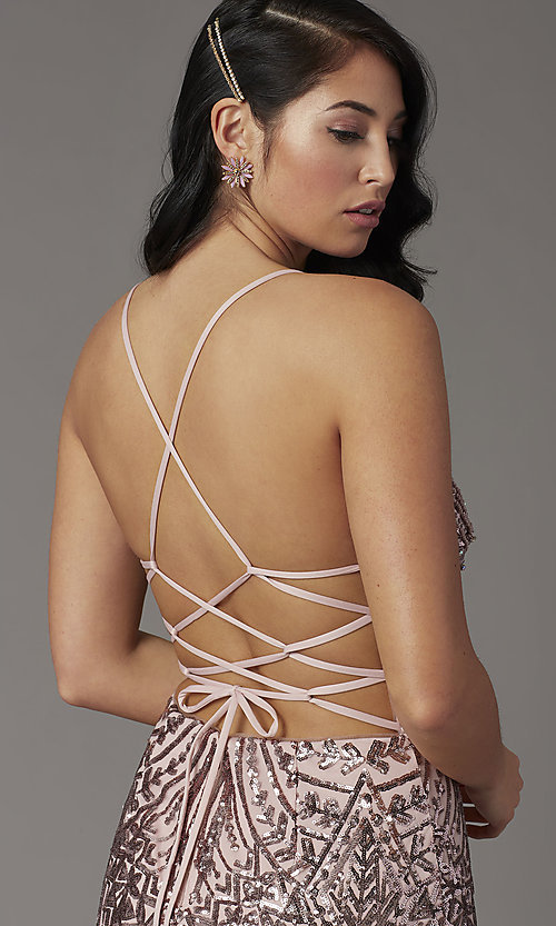 Image of open-back long sequin prom dress from JVNX by Jovani. Style: JO-JVNX03049 Detail Image 2