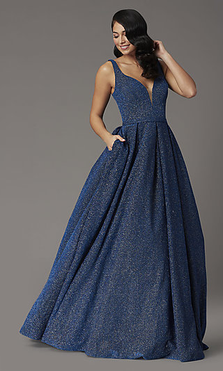 Navy Blue Glitter Prom Dress from JVNX by Jovani