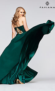 Image of long flowing open-back prom dress by Faviana. Style: FA-S10400 Detail Image 4
