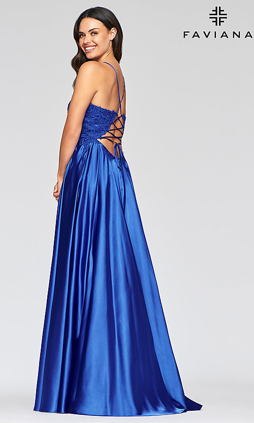 Image of long flowing open-back prom dress by Faviana. Style: FA-S10400 Back Image