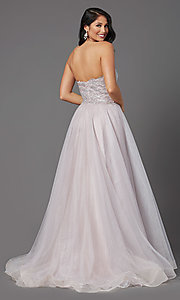 Image of JVNX by Jovani mauve pink long sparkly prom dress. Style: JO-JVNX03511 Back Image