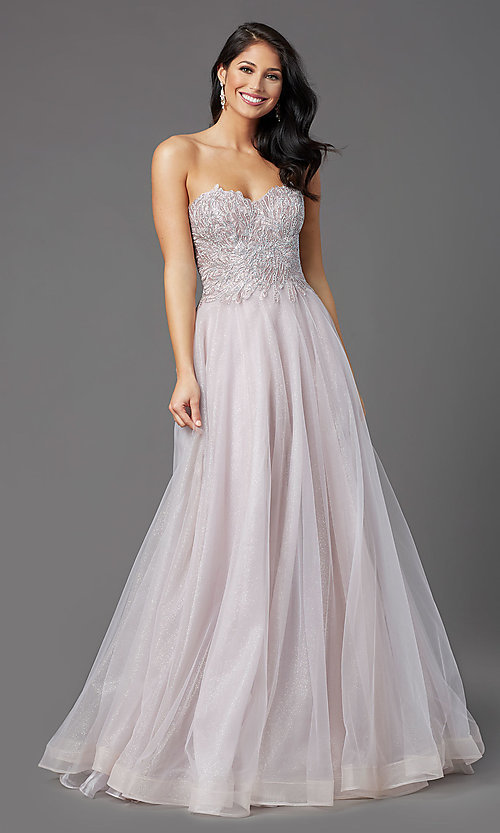 Image of JVNX by Jovani mauve pink long sparkly prom dress. Style: JO-JVNX03511 Detail Image 2