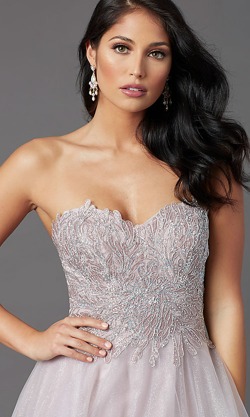 Image of JVNX by Jovani mauve pink long sparkly prom dress. Style: JO-JVNX03511 Detail Image 1