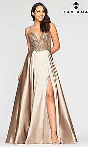 Image of long sexy formal prom dress with sheer bodice. Style: FA-S10401 Front Image