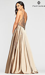 Image of long sexy formal prom dress with sheer bodice. Style: FA-S10401 Back Image