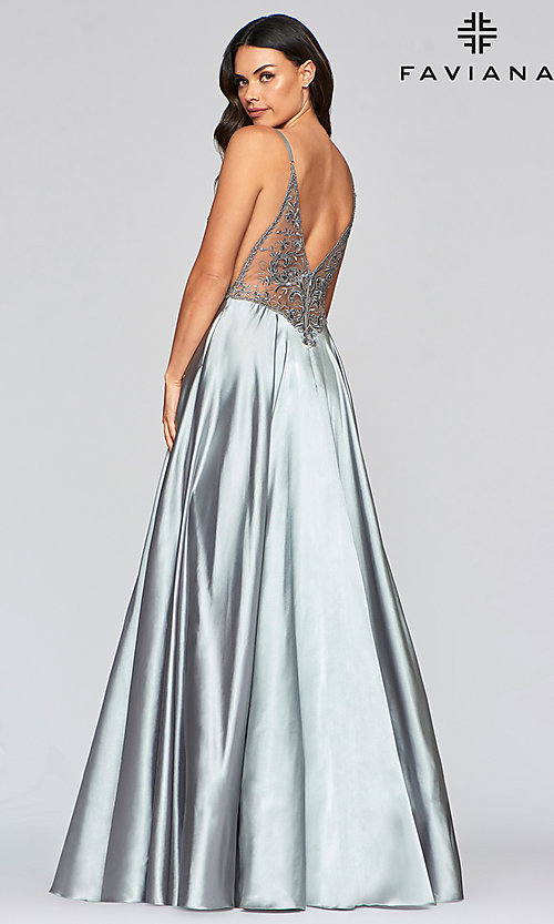 Image of long sexy formal prom dress with sheer bodice. Style: FA-S10401 Detail Image 4